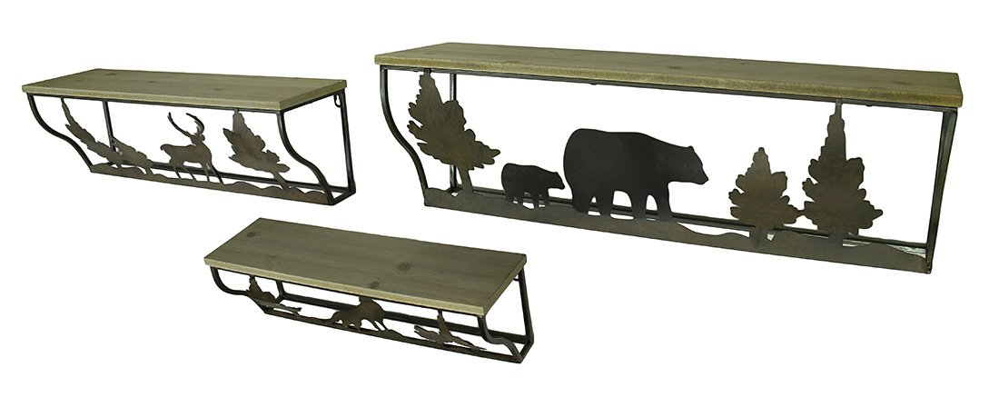 Wood & Metal Hanging Shelves 3 Piece Forest Animal Rustic Blackened Brown Wood And Metal Wall Shelf Set 28 X 9 X 8 Inches Brown by Zeckos (Image #2)