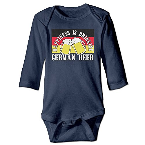 Funny Vintage Unisex Happiness Is Drinking German Beer Bodysuit Infant Baby's (German Outfit For Oktoberfest)
