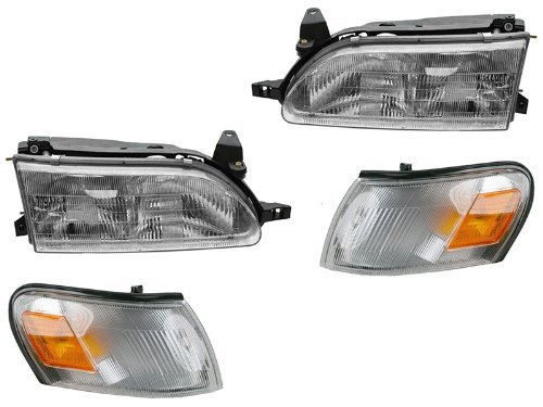 Toyota Corolla 93 94 95 96 97 Head And Corner Light W Bulb 4 Piece - Headlights Toyota Corner Corolla