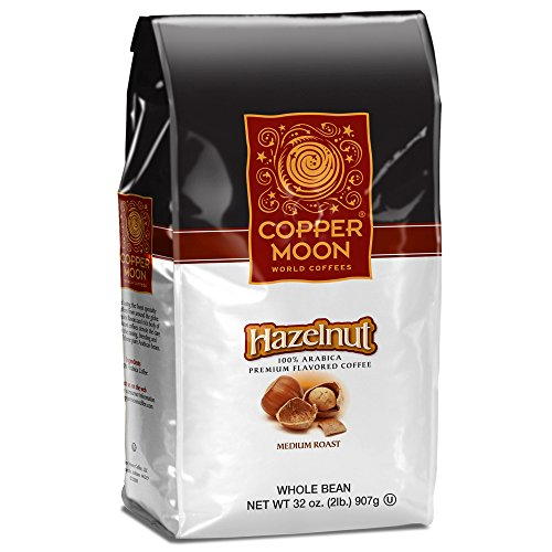 Copper Moon Whole Bean Coffee Hazelnut 2 Pound Whole Bean Medium Roast Small Batch Coffee, Hazelnut Flavored Coffee with Rich Nutty Sweet and Buttery Finish, 100% (Hazelnut Flavored Fresh Roasted Coffee)