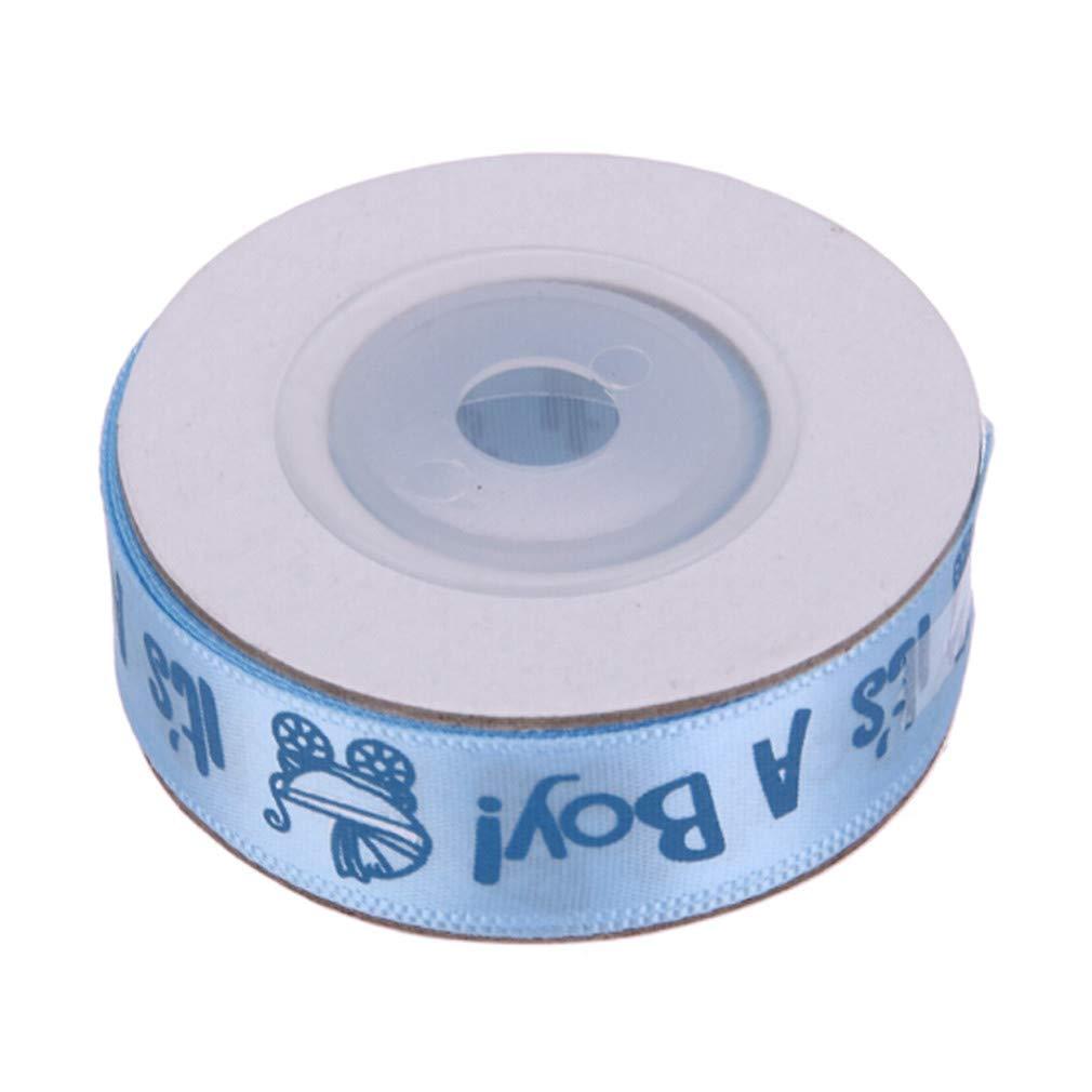 HENGSONG It's A Girl/Boy Pram Baby Shower Birth Celebration Satin Ribbon DIY Gift Wrapping Belt 15mm,Blue Boy