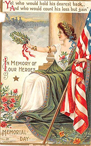 Patriotic Post Card Old Vintage Antique Postcard Memory of Our Heroes, Memorial Day Writing on back