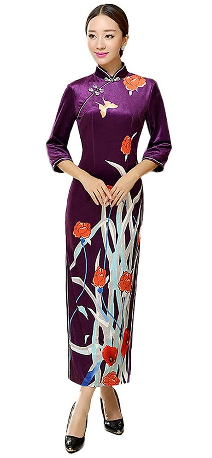 Bigood Purple Embroidered Cheongsam Long Party Dress