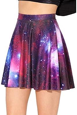 iecool Women's Flared Stretch Soft Pleated Mini Dress Skater Skirt (S, Galaxy)
