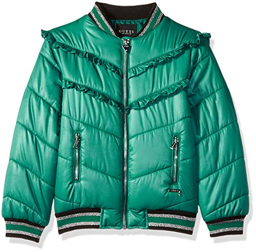 Guess Girls' Big Ruffle Trim Bomber Jacket, Spanish Dark Teal, 14
