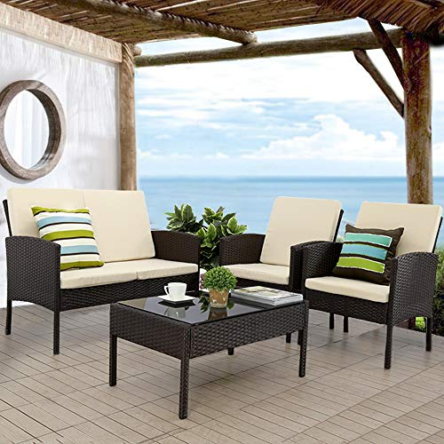 JH606 Patio Furniture Set 4pcs Outdoor Conversation Set Rattan Garden Lawn Sofas Wicker Chairs Loveseat with Cushion