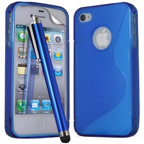 (Blau) Apple iPhone 4 Schutzhülle S-Line Wave Gel Case Cover Skin, Aus- und einfahrbarem Capacative Touchscreen Stylus Pen & LCD Screen Protector Guard von Spyrox