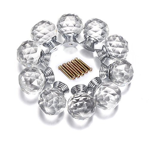 Do4U 10pcs 30mm Crystal Glass Cabinet Knob Drawer Pull Handle Kitchen Door Wardrobe Hardware Used for Cabinet, Drawer, Chest, Bin, Dresser, Cupboard (30mm, Fresh Silver) (Pull Round Knobs Glass)