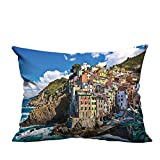 YouXianHome Household Pillowcase Italian Mediterranean House by Cliffs Dramatic Weather Sea Cinque Terre Print Multi Perfect for Travel(Double-Sided Printing) 13x17.5 inch