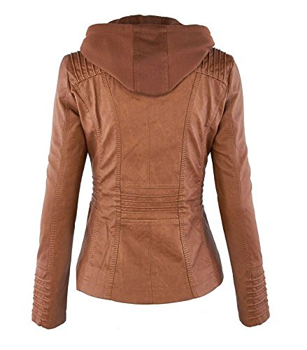 Tops Veste Marron Capuche En Femme Mode Motard Cuir Moto Fille clair Hooded Simili Jacket Court Fermeture Manteau Blousons Bomber xaUFR1qwPa