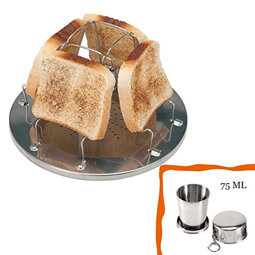 Camping Stove Toast Rack,75ml Stainless Steel Telescopic Cup, for Breakfast Toast Sandwich for Outdoor Camping Picnic Outdoor Activities