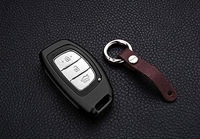 [MissBlue] Aircraft Aluminum Key Fob Cover For Hyundai Remote Key, Protector Case Fits Hyundai Verna Style Elantra Mistra Sonata 9 Tucson ix25 ix35 Car Key, Unisex Leather Key Fob Keychain Key Holder