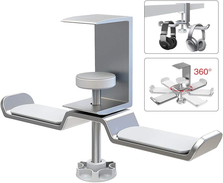 6amLifestyle ヘッドホンスタンド ダブルハンガー 360°回転可能 ユニバーサルヘッドフォンに適した調整可能なヘッドホンハンガー 銀