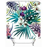 """Pink and Green Shower Curtain Cheerhunting Palm Leaf Décor Shower Curtain, Tropical Palm Leaf with Flowers, Fabric Bathroom Décor Set with Hooks, 72""""W x 72""""H Waterproof, Green Purple"""