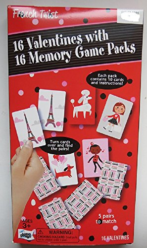 16 Valentines with 16 memory game packs French Twist game each pack contains 10 cards and ()