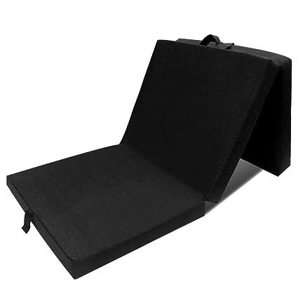 vidaXL Colchón Negro de Espuma Plegable Cama De Invitados Campamento 190x70x9cm