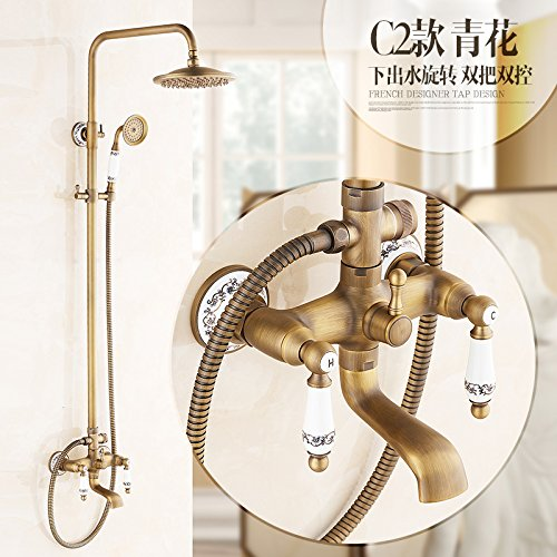 C2 GFEI Antique shower set   full copper bath, hot and cold retro faucet, shower nozzle,B2