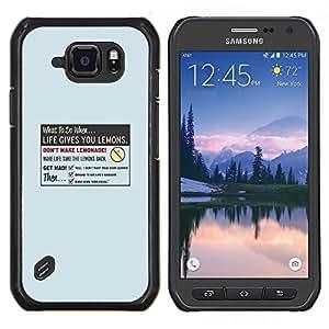 Caucho caso de Shell duro de la cubierta de accesorios de protección BY RAYDREAMMM - Samsung Galaxy S6Active Active G890A - La vida le da Limón