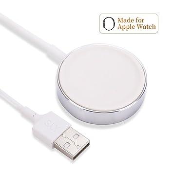 Cargador para Ap Watch de 2,8 cm de diámetro, Cargador inalámbrico portátil MASOMRUM de 1 Metro para iWatch, Cargador por la para Ap Watch 1/2/3/4, 38 ...