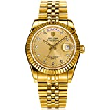 Mens Watch Full Gold Stainless Steel Analog...