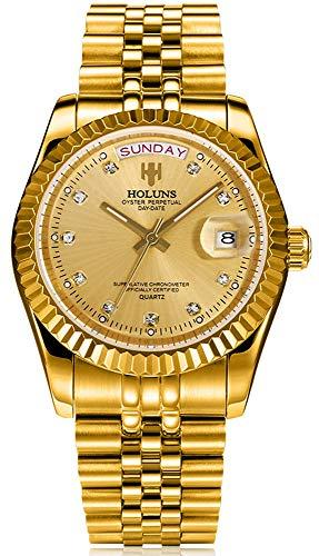 Mens Watch Full Gold Stainless Steel Analog Quartz Watch Diamond Luxury Waterproof Wrist Watches with Date Week Calendar for Men