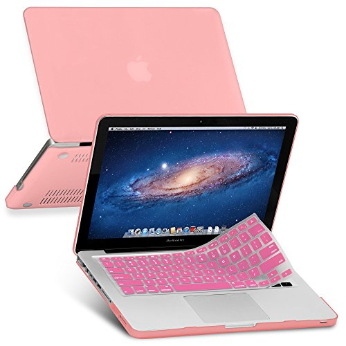 Pink Rubberized-see-through Macbook Pro Hard Case Skin (For 13 Inches) – With Pink Protective Keyboard Cover