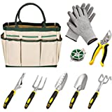 FDegage 9 Pcs Garden Tool Set- 6 Gardening Tools, a Plant Rope, Soft Gloves and Garden Tote