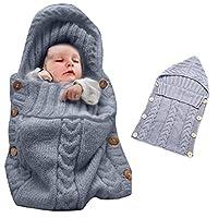 Manta envoltura colorida del bebé del abrigo del bebé recién nacido, bebé de Oenbopo Niños Manta de punto del niño del niño Saco de dormir del saco de dormir Abrigo del cochecito para el bebé de 0-12 meses (gris)
