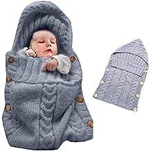Manta para envolver y fajar bebés recién nacidos colorida Oenbopo, manta tejida para bebés y niños pequeños, bolsa de dormir para envoltura en cochecito, para bebés de 0 a 12 meses, gris