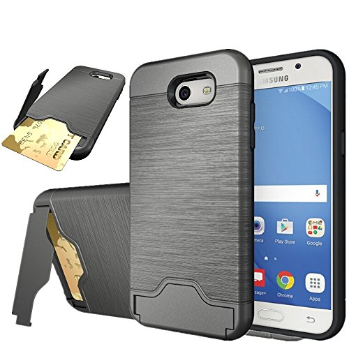 Galaxy J3 Emerge Case, Asstar [Card Slots Holder] Drop Protection Hybrid Armor Defender Protective Case Cover with Kickstand for Samsung Galaxy J3 Emerge / Express Prime 2 (Batman Body Armor)