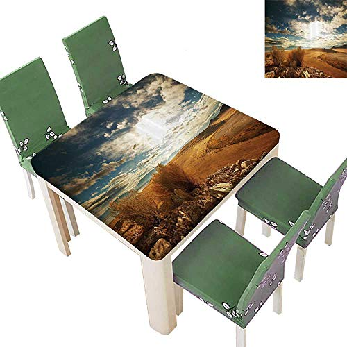 Printsonne Table in Washable Polyeste Prairie Hot USA Mississippi River Valley with Idyllic Wedding Party Restaurant 50 x 50 Inch