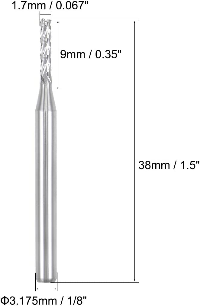 "10pcs 0.067/"" 1.7mm Carbide End Mill Engraving Bits CNC PCB Machinery 1//8/"" shank"