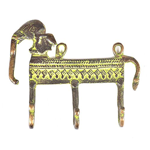 (Indianshelf Handmade 2 Artistic Vintage Multicolor Brass Patina Rich Elephant Figurine Wall Hooks Hangers/Hooks for Hanging)