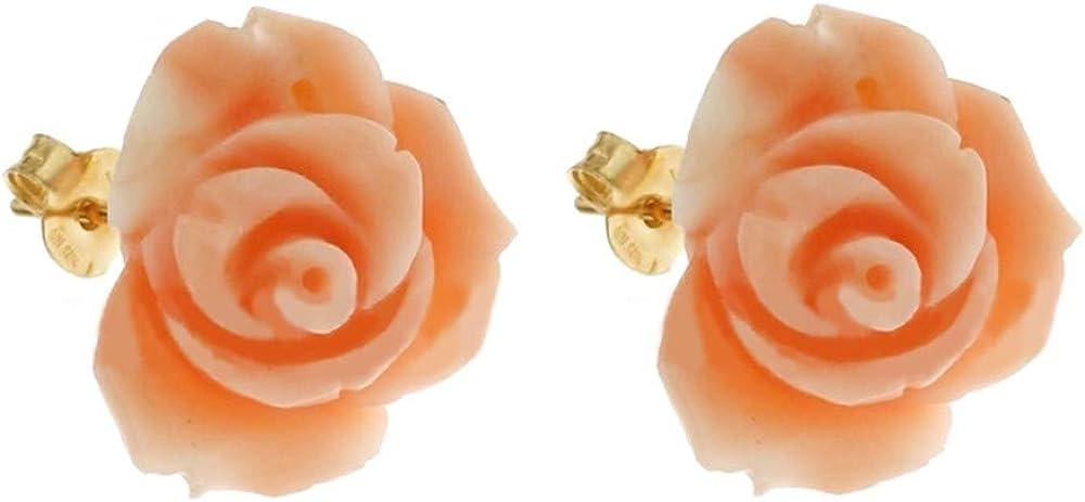 pendientes con forma de Rosa en Coral auténtico con Cierre de Oro Amarillo De 18K 750/1000