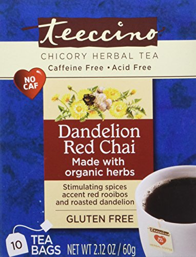 Tea Chai Red (Teeccino Dandelion Red Chai Herbal Tea Bags, 85% Organic, Gluten Free, Caffeine Free, Acid Free, 10 Count)