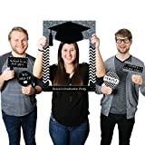 Big Dot of Happiness Custom Tassel Worth The Hassle - Silver - Personalized Graduation Party Selfie Photo Booth Picture Frame & Props - Printed on Sturdy Material