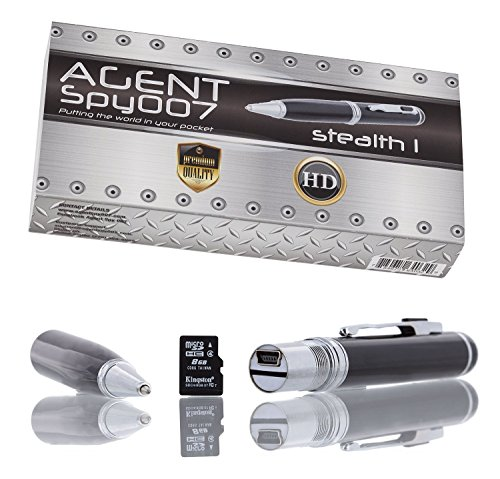 AGENT SPY Stealth Spy Camera Pen Features 1280 x 720 HD Recording - Over 60 Minutes Of Recording Time - 8 BG Memory Card - Covert Surveillance Equipment