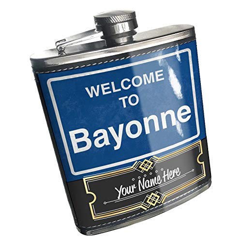 Neonblond Flask Sign Welcome To Bayonne Custom Name Stainless Steel