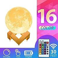 Mydethun 16 Colors LED 3D Print Moon Light Lamp
