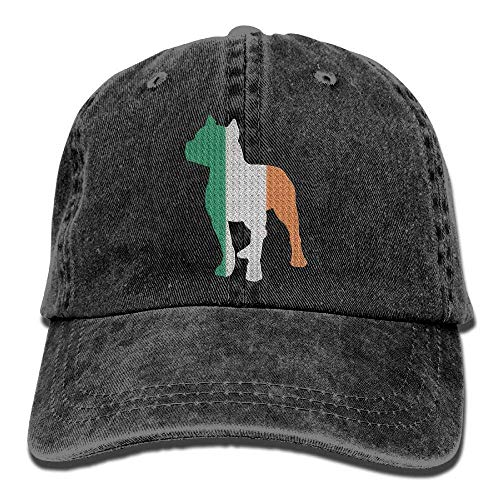 DeReneletrc Unisex Patriotic Pitbull Irish Flag Vintage Jeans Baseball Cap Adjustable Dad ()