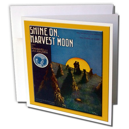 (3dRose Vintage Shine On Harvest Moon Follies of 1908 Song Sheet Cover - Greeting Cards, 6 x 6 inches, set of 6 (gc_126371_1))