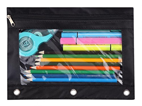 - WODISON 3-Ring Pen Pencil Pouch with Clear Window Stationery Bag Binder Case Classroom Organizers Black