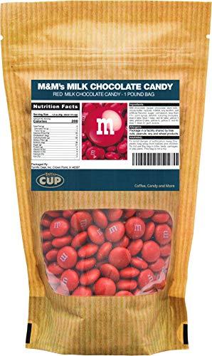 Red Milk Chocolate M&M's Candy (1 Pound Bag)