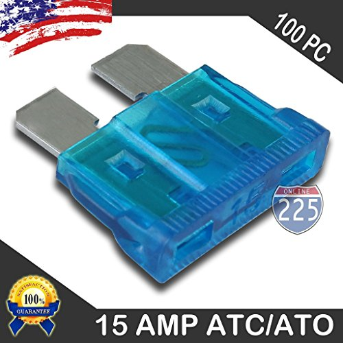 100 Pack 15 AMP ATC/ATO Standard Regular Fuse Blade 15A Car Truck Boat Marine RV