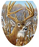 brown cushion toilet seat Toilet Tattoos, Toilet Seat  Cover Decal, Crowning Glory Deer, Size Elongated