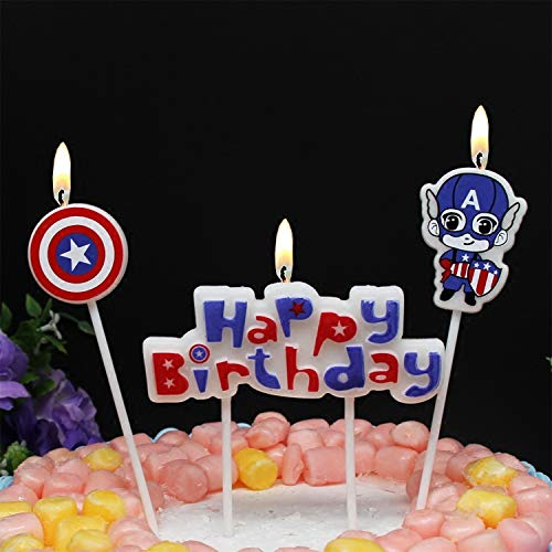 Astra Gourmet Cartoon Captain America Happy Birthday Candles Cute Handmade Craft Party Candles Western Cake Decoration Cake Candles - 3 Candles a Set