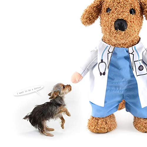 WORDERFUL Dog Cat Doctor Nurse Costume Pet Doctor Clothing Halloween Jeans Outfit Apparel (S, Doctor (Blue))