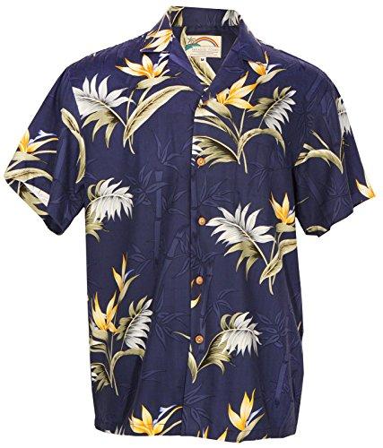(Aloha Bamboo Paradise - Men's Hawaiian Print Aloha Shirt - NAVY -)