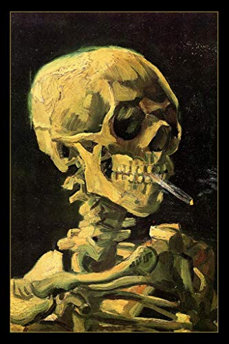 (Vincent Van Gogh Skull of A Skeleton with Cigarette Art Print Mural Giant Poster 36x54 inch)