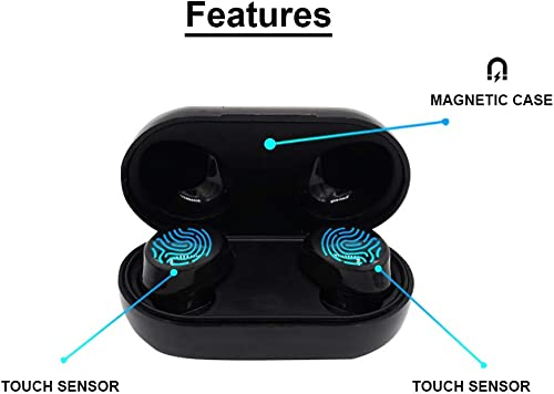 Bluetooth 5.0 Wireless Earbuds,Dualpow True Wireless Headphone Mini in-Ear Headset Touch Control, 20hrs Playtime, Auto Pairing Compatible with iPhone, Android, Smartphones Black M-10